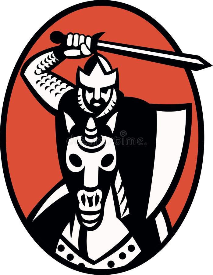 De Kruisvaarder van de ridder met het Berijden van het Zwaard Retro Paard royalty-vrije illustratie