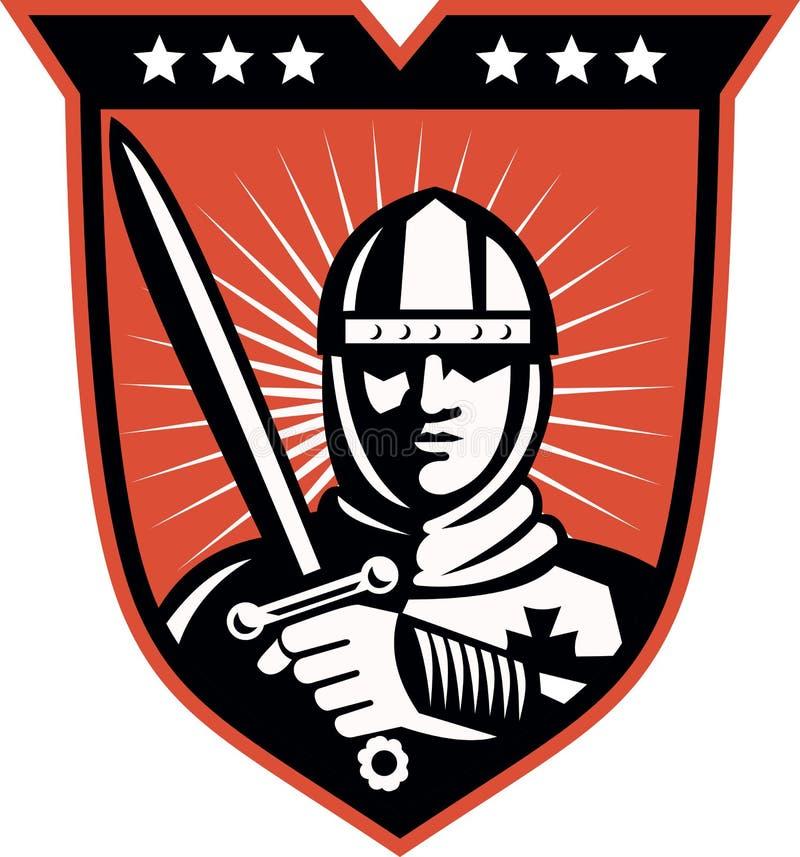 De Kruisvaarder van de ridder met het Schild van het Zwaard royalty-vrije illustratie