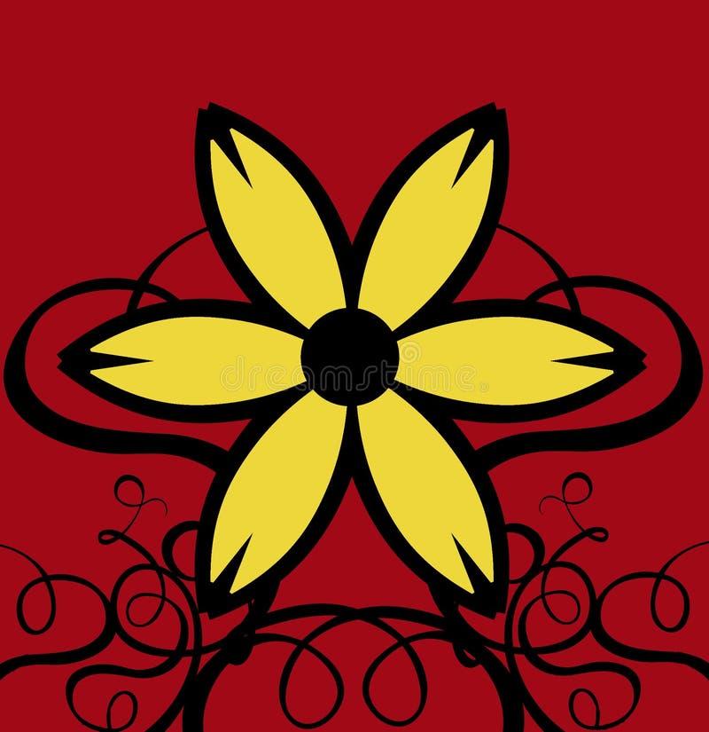 De Krullen van het decor met Gele Bloem & Rode Achtergrond vector illustratie
