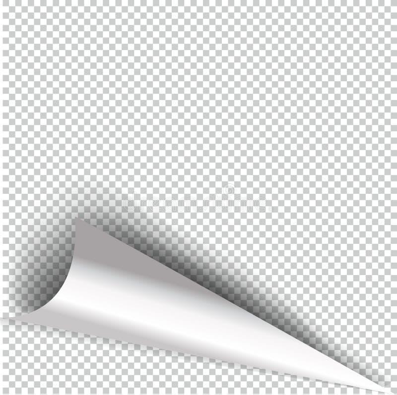 De krullende realistische illustratie van de Paginahoek met transparante schaduw stock illustratie
