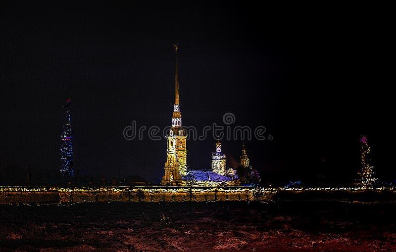 de kubieke techniek van het pixelmozaïek de klokketoren van Peter en Paul Cathedral in het avond licht Heilige Petersburg Rusland stock foto