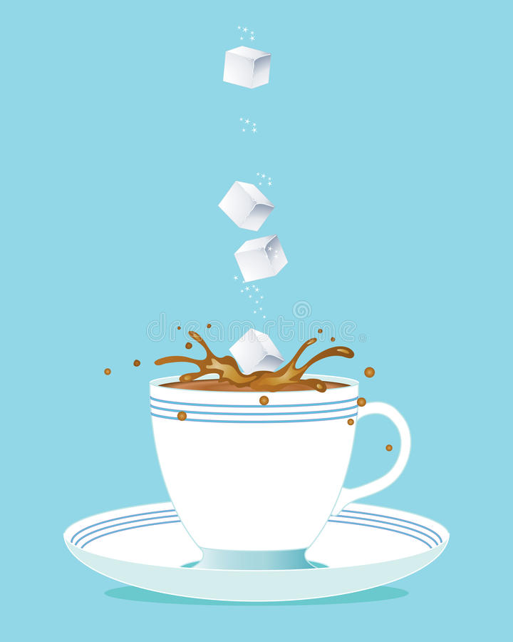 De kubus en de thee van de suiker stock illustratie