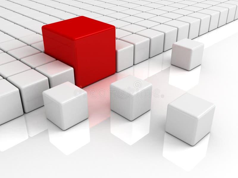 De kubus van de bedrijfs individualiteit uniek rood concept royalty-vrije illustratie