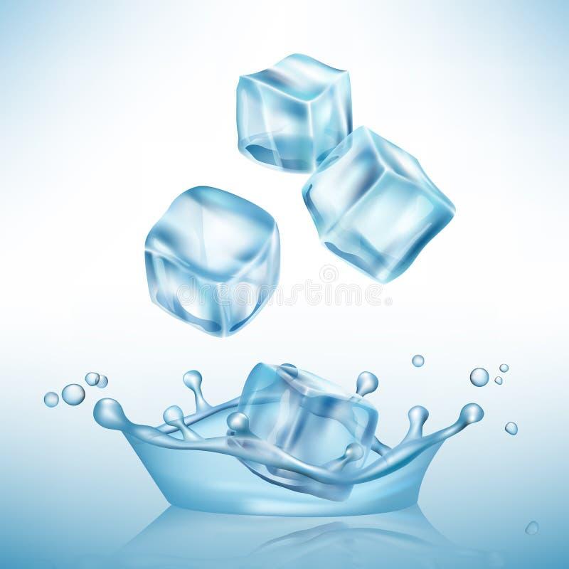 De kubus van ijsplonsen De vulklei van het vorstwater en glashelder ijsblokje vector realistische achtergrond royalty-vrije illustratie