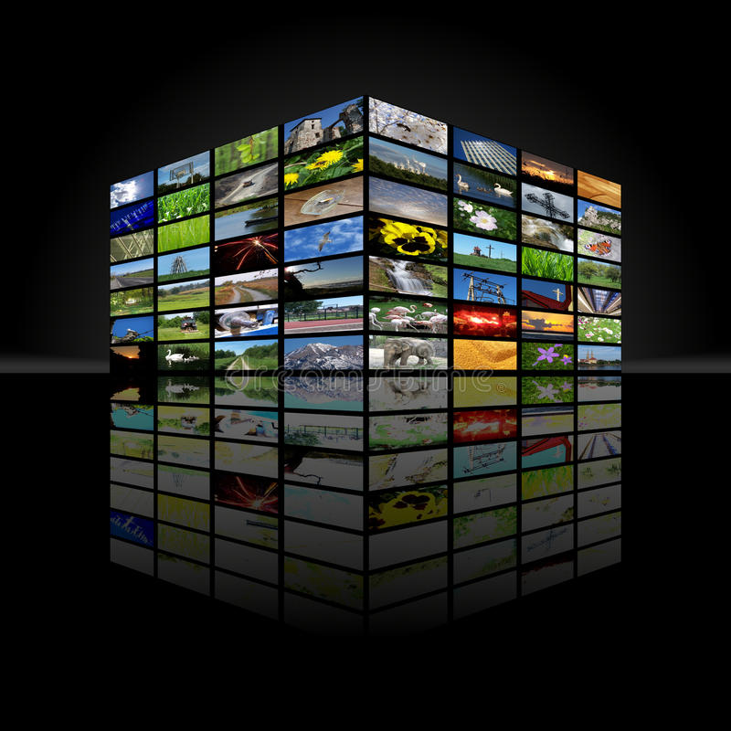De kubus van verschillende media royalty-vrije illustratie