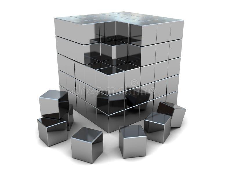 De kubusraadsel van het staal royalty-vrije illustratie