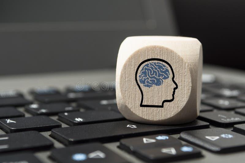De kubussen dobbelen met hoofden en hersenen royalty-vrije stock foto
