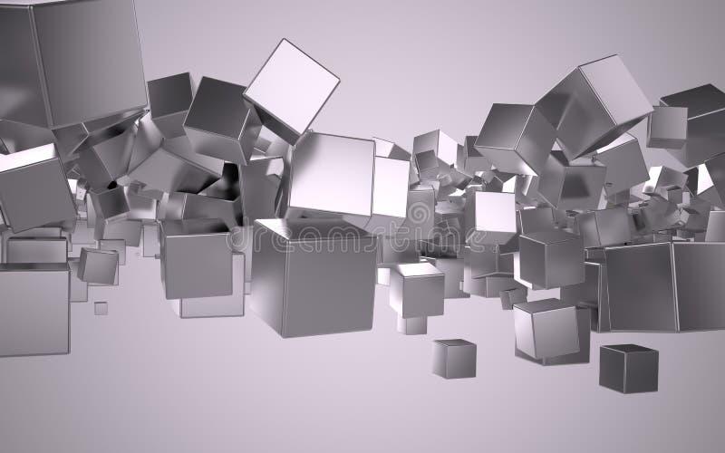 De kubussen van het metaal stock illustratie