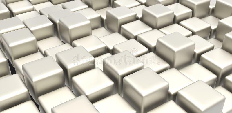 De kubussen van het witmetaal royalty-vrije illustratie