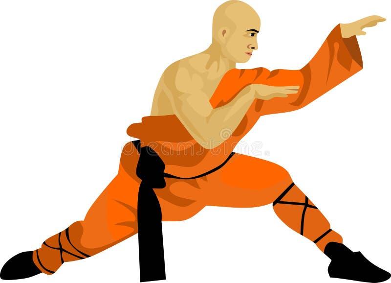 De Kungfu-Monnik Chinese Martial Art vector illustratie