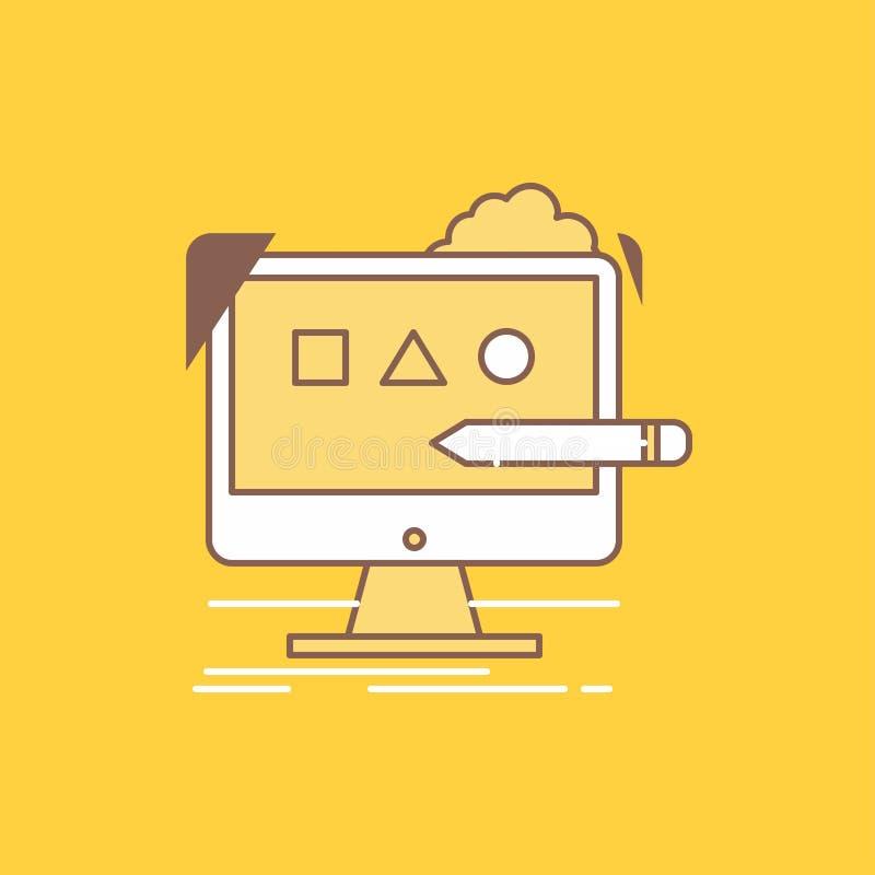 De kunst, computer, ontwerp, digitaal, studio Vlakke Lijn vulde Pictogram Mooie Embleemknoop over gele achtergrond voor UI en UX, stock illustratie