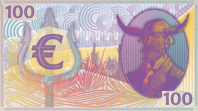 De kunst-kleuren van de het Geld euro-Steen van de duivel stock foto