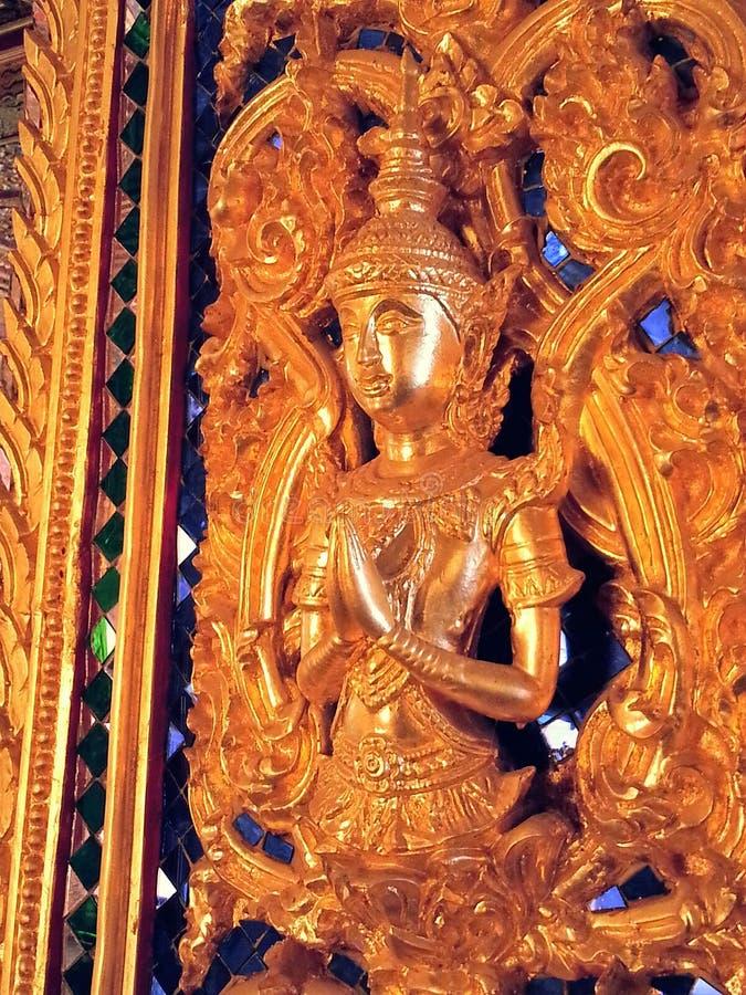 De Kunst op de Deur Thaise Tempel stock foto
