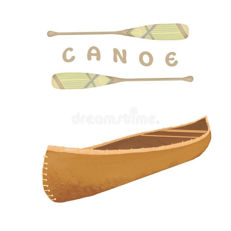 De kunst uitstekende boot van de kano digitale klem in isometry stijl Isometrisch kajakpictogram Kano met peddel op witte achterg royalty-vrije illustratie