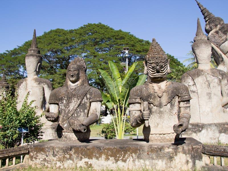 De Kunst van Boeddhisme Overvloed van de standbeelden van Boedha in het Park van Boedha, Vientiane Laos PDR royalty-vrije stock afbeeldingen