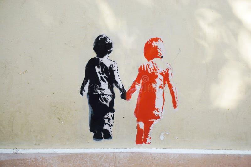 De kunst van de graffitistraat in Athene, Griekenland stock foto