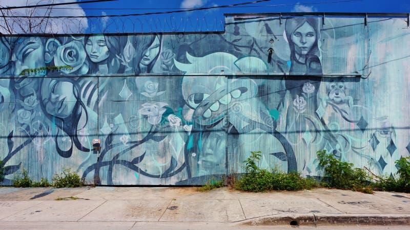 De kunst van de graffitistraat in de Wynwood-buurt van Miami royalty-vrije stock afbeeldingen