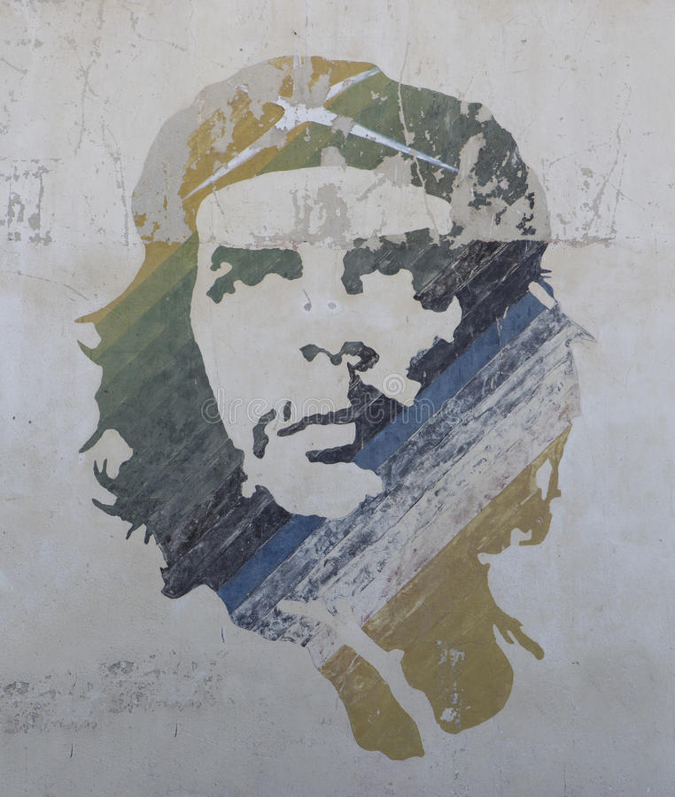 De kunst van de gueverastraat van Ernesto che in habana van Cuba stock afbeeldingen