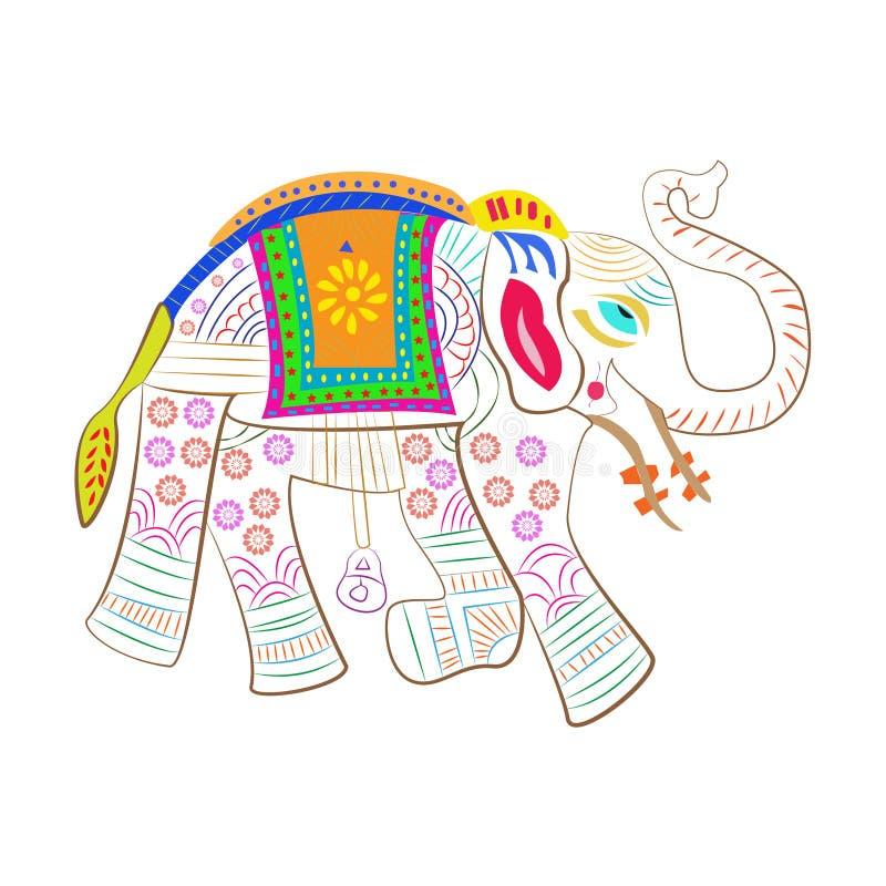 De kunst van de olifantskrabbel verfraaide sier traditioneel India vector illustratie