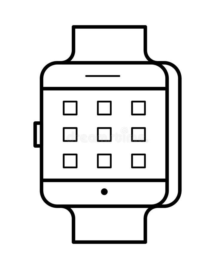 De kunst van de Smartwatchlijn, eenvoudig gadgetpictogram stock illustratie