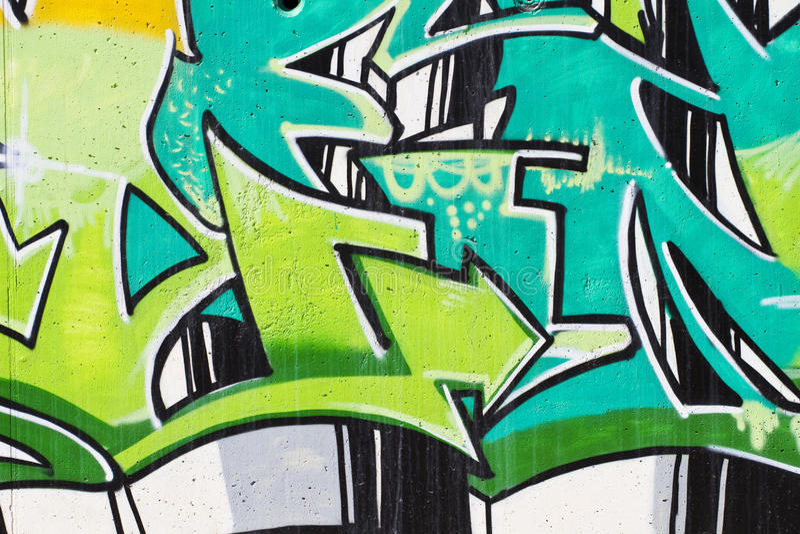 De kunst van de straat, segment van een stedelijke graffiti op muur royalty-vrije illustratie