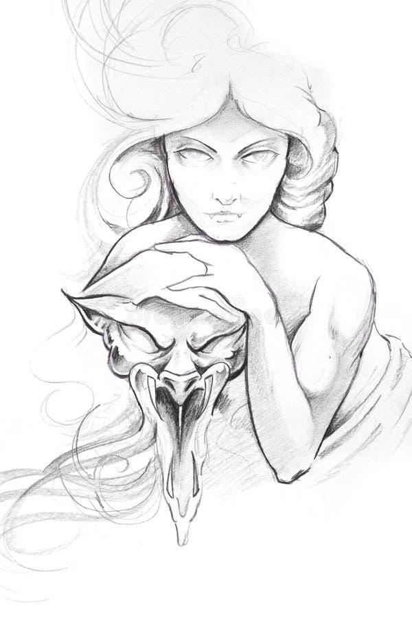 De kunst van de tatoegering, schets van een vrouw met masker stock illustratie