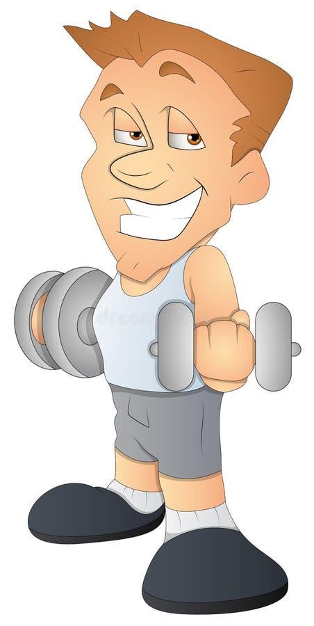 Bodybuilder - het Karakter van het Beeldverhaal - VectorIllustratie royalty-vrije illustratie