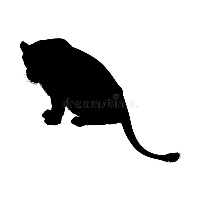 De kunst van de het silhouet? klem van de leeuw van koning van bos royalty-vrije illustratie