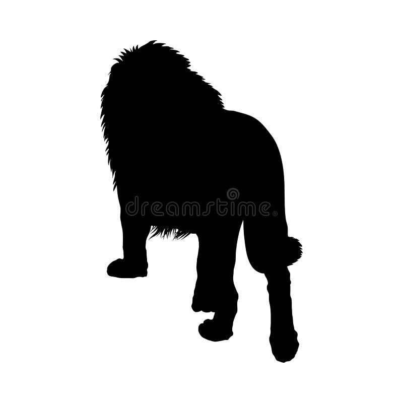 De kunst van de het silhouet? klem van de leeuw van koning van bos vector illustratie