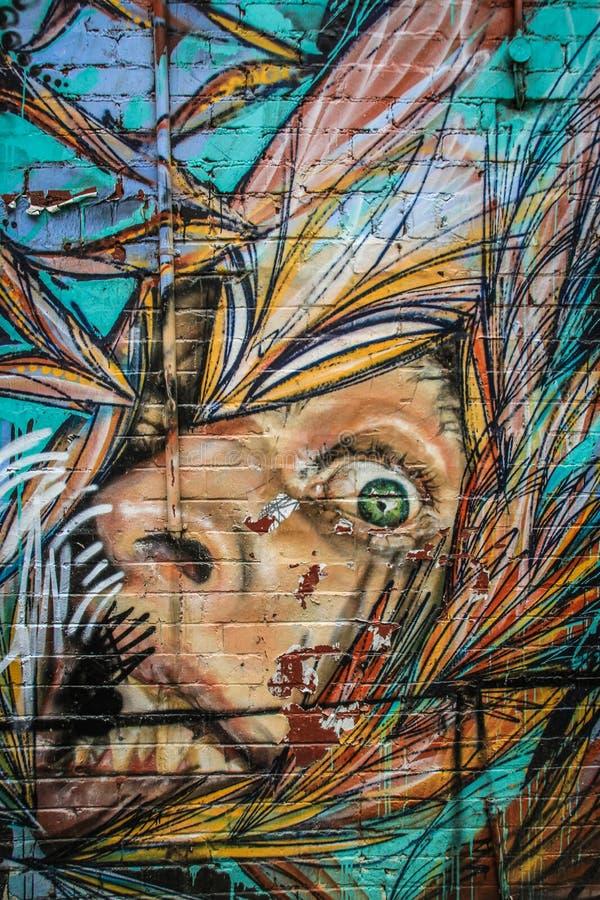 De kunst van de Inspirativestraat in Melbourne, Victoria, Australië stock foto