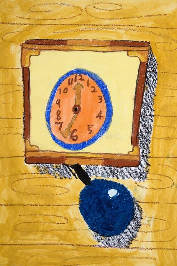 De Kunst van kinderen - Klok stock illustratie