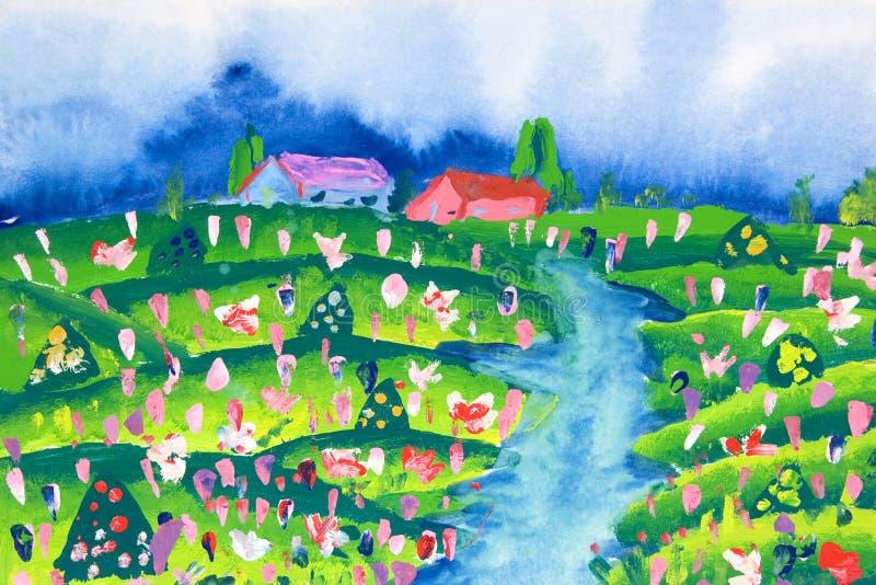 De Kunst van kinderen - Landbouwbedrijf royalty-vrije illustratie