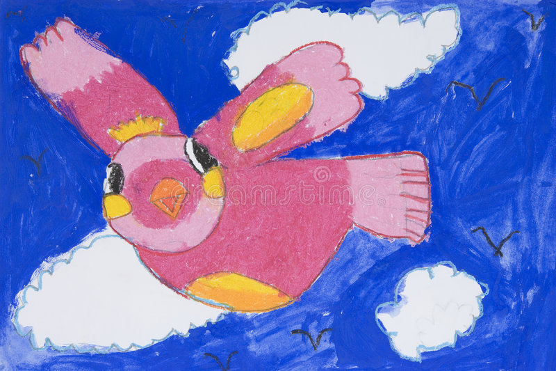 De Kunst van kinderen - Vogel stock illustratie