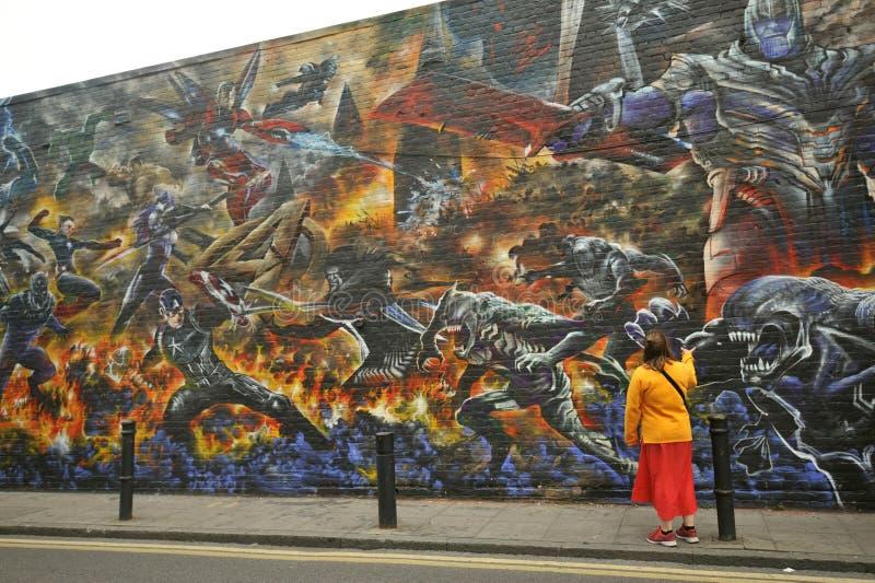 De kunst van de wondergraffiti op de straten van Oost-Londen, Engeland royalty-vrije stock foto's