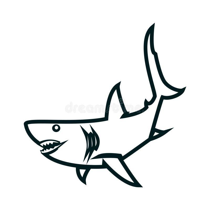 De kunst vectorillustratie van de haailijn Ontwerp van het haai het eenvoudige overzicht stock illustratie