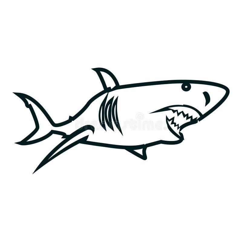 De kunst vectorillustratie van de haailijn Ontwerp van het haai het eenvoudige overzicht vector illustratie