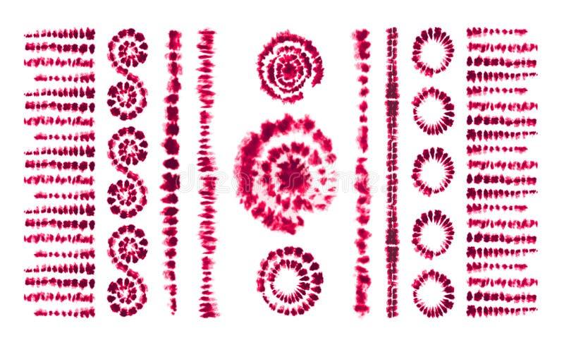 De kunstborstels van de bandkleurstof Druk in Shibori-stijl Lint stock illustratie