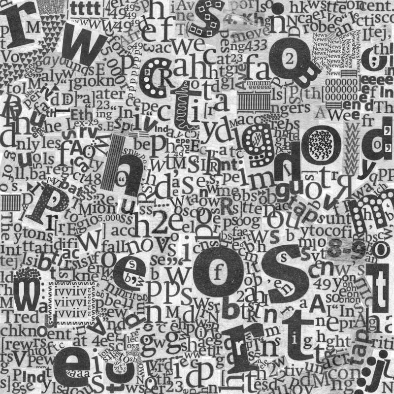 De kunstbrieven van de abstracte krant royalty-vrije stock afbeeldingen