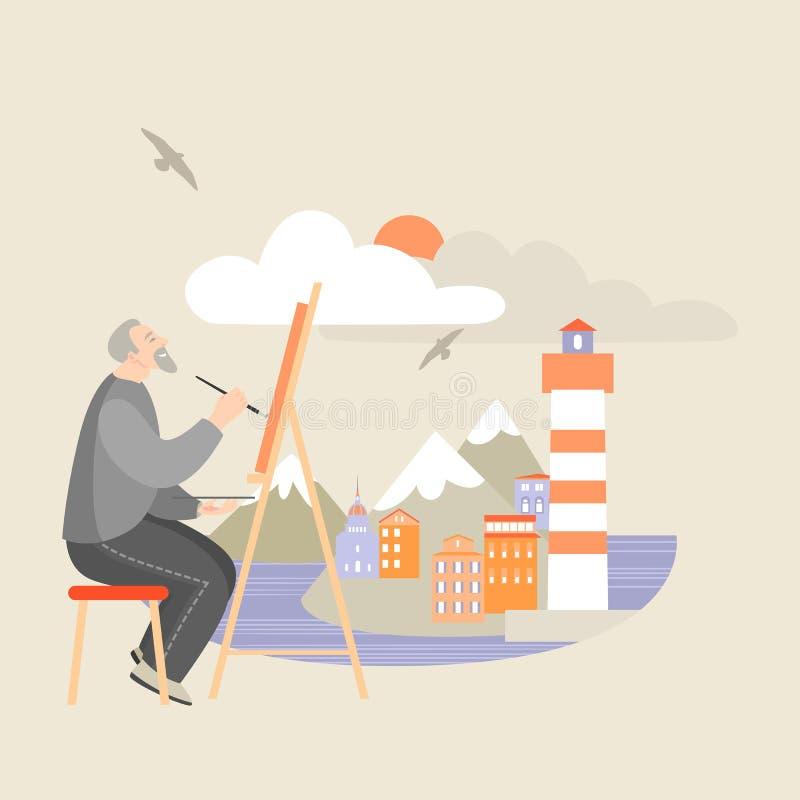 De kunstenaar bij de schildersezel schildert een zeegezicht met eilanden en een vuurtoren vector illustratie