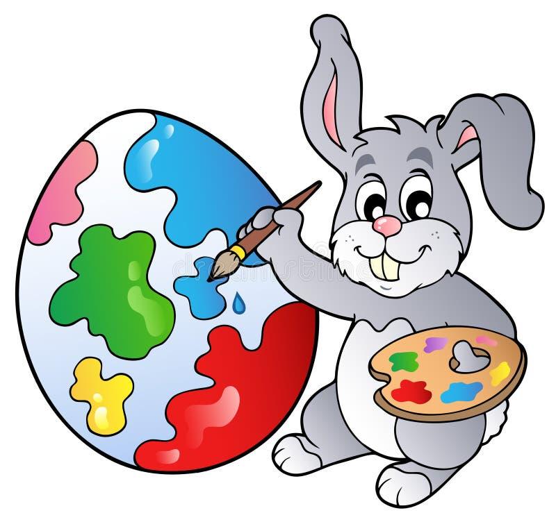 De kunstenaar die van het konijntje Paasei schildert