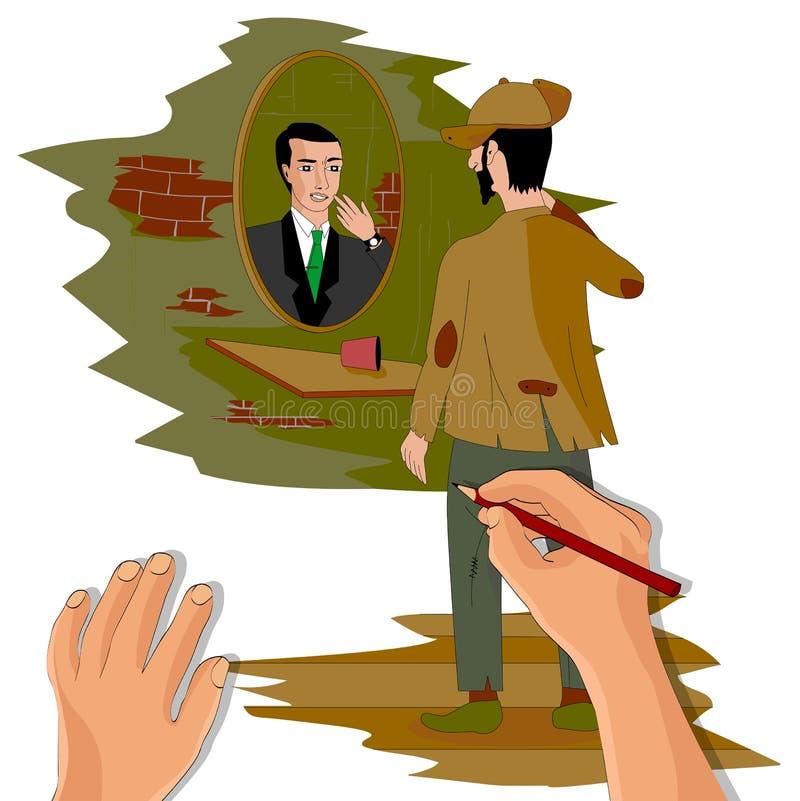 De kunstenaar schildert een slechte mens bij de spiegel, die op een rijke man wijst royalty-vrije illustratie