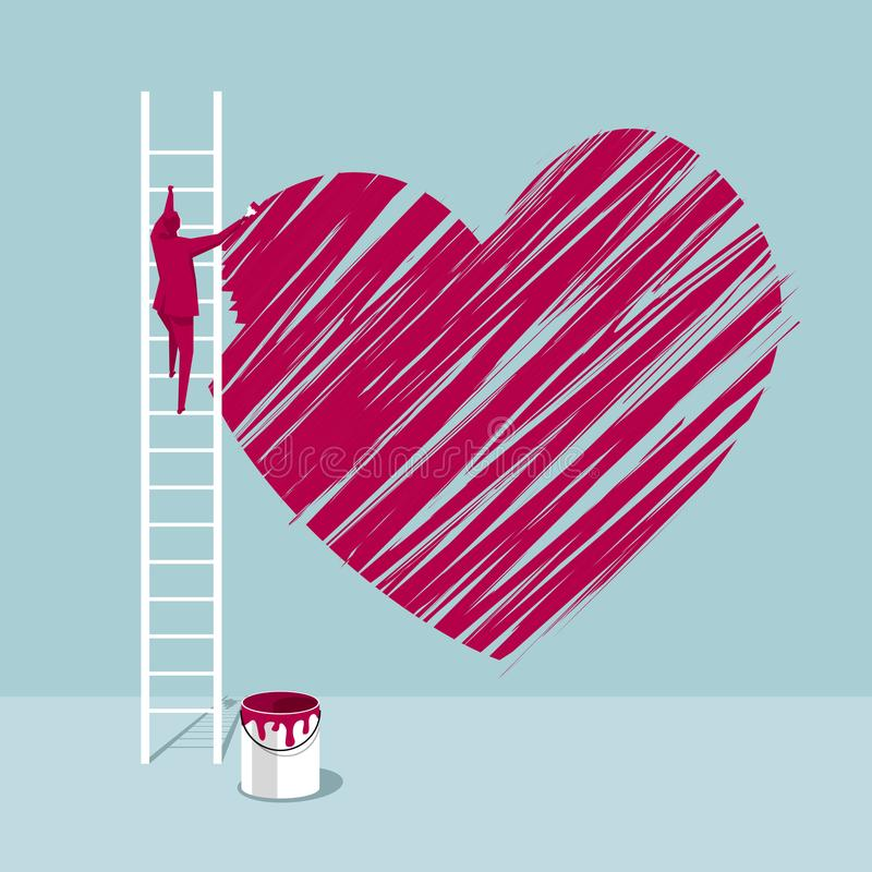 De kunstenaar trekt een hartsymbool op de muur vector illustratie