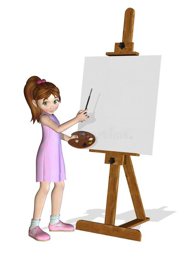 De Kunstenaar van het Meisje van het beeldverhaal op het Werk stock illustratie