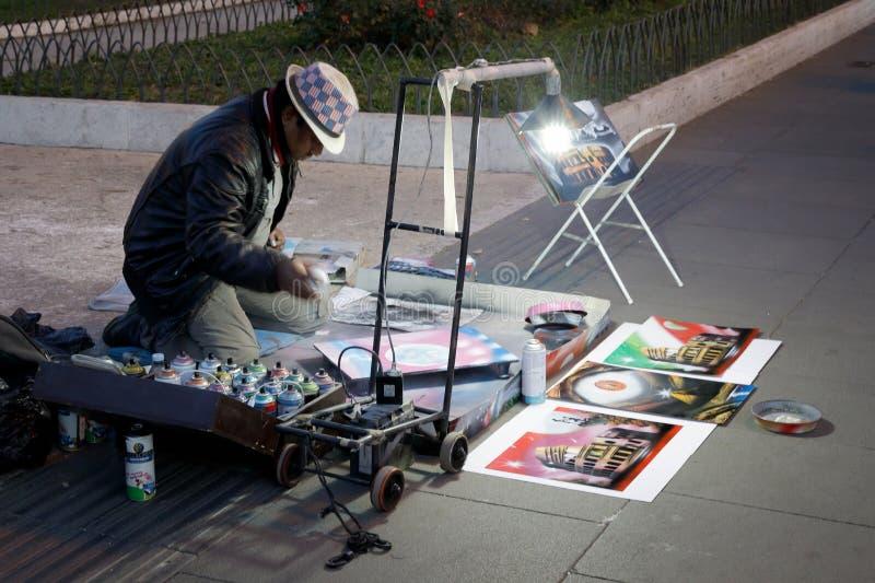 De kunstenaar van de straat in Rome royalty-vrije stock afbeeldingen