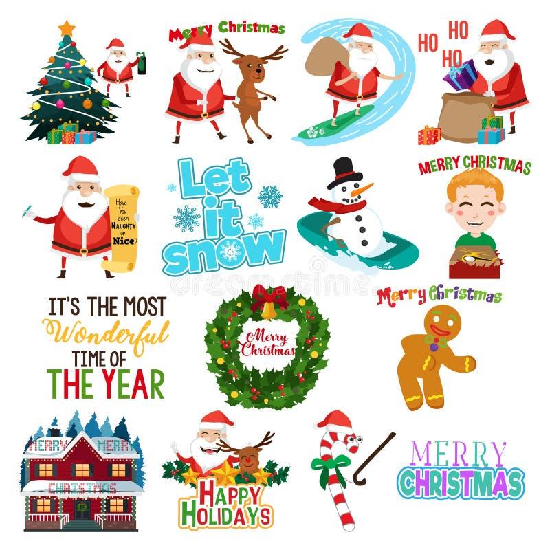 De kunstenillustratie van de Kerstmisklem vector illustratie