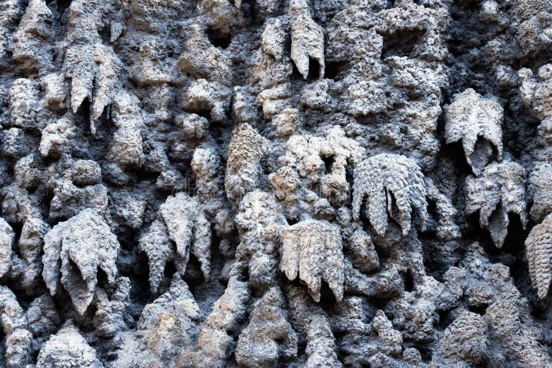 De kunstmatige die stalactietmuur van kalkgipspleister wordt gemaakt in vroege Barokke die Wallenstein-Tuin, met het Wallenstein- stock foto