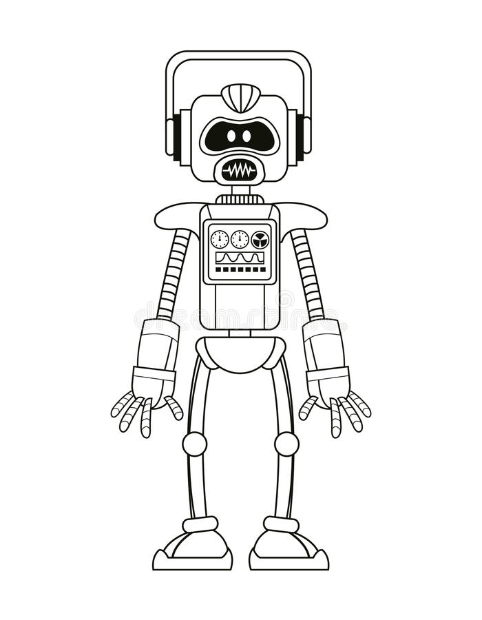 De kunstmatige dunne lijn van de robotintelligentie royalty-vrije illustratie
