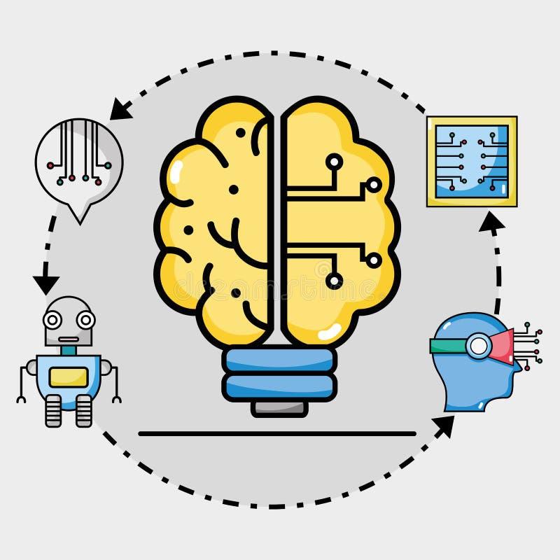 De kunstmatige intelligentie van bolhersenen circits vector illustratie