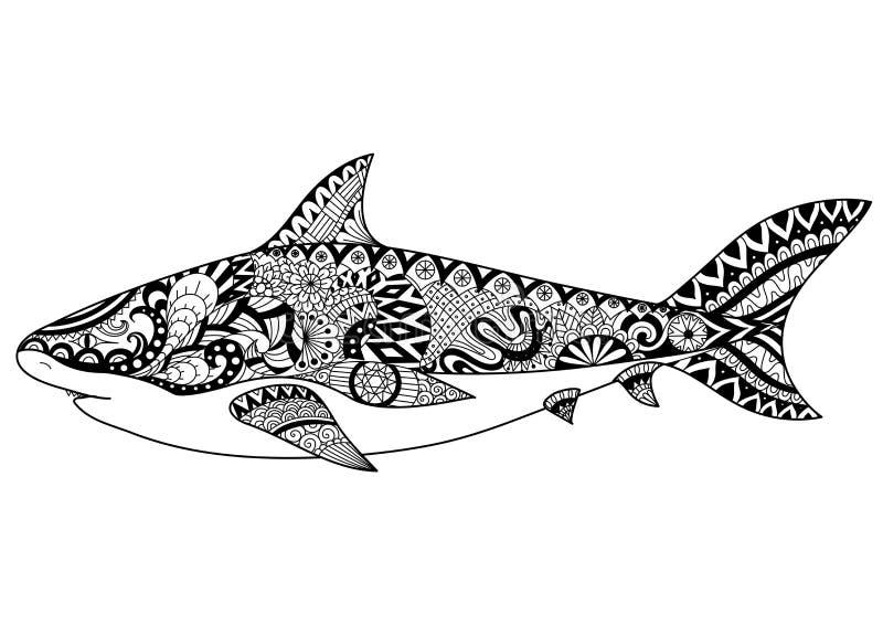 De kunstontwerp van de haailijn voor het kleuren van boek voor volwassene, tatoegering, t-shirtontwerp en andere decoratie stock illustratie