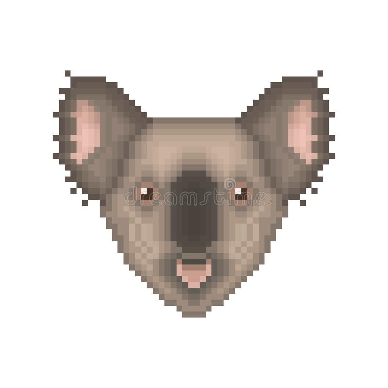 De kunstportret van het koalapixel Beeldverhaal dierlijk pictogram stock illustratie